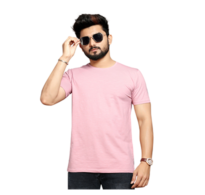 less q branded slub lycra mens t shirt (pink)