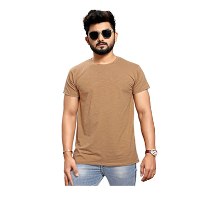 less q branded slub lycra mens t shirt (brown)
