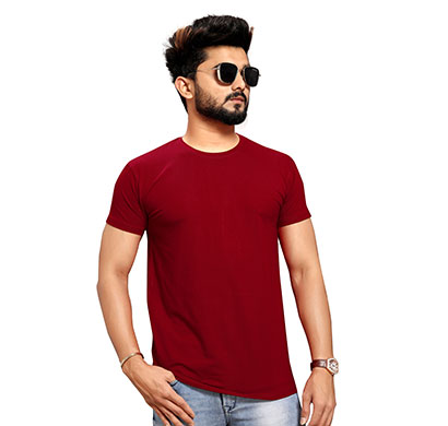 less q branded cotton lycra mens t-shirt (carmine)