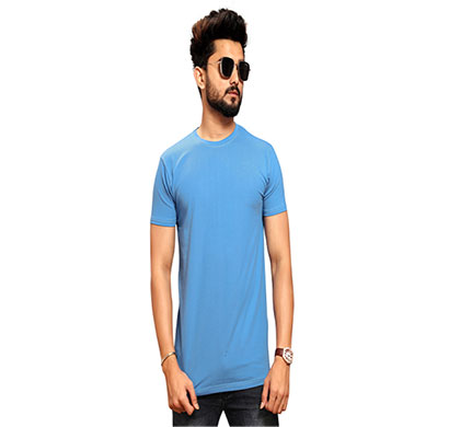 less q branded cotton lycra mens t-shirt (cyan blue)
