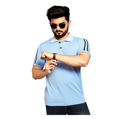less q branded creta cotton matty with collar men's t shirt ( navy blue)