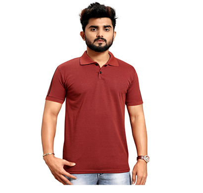 less q branded creta cotton matty with collar men's t shirt ( brown)