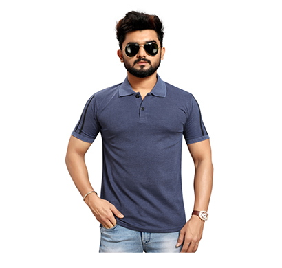 less q branded creta cotton matty with collar men's t shirt ( dark grayish blue)