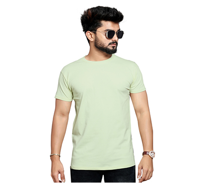 less q branded cotton lycra mens t shirt ( greenish white)