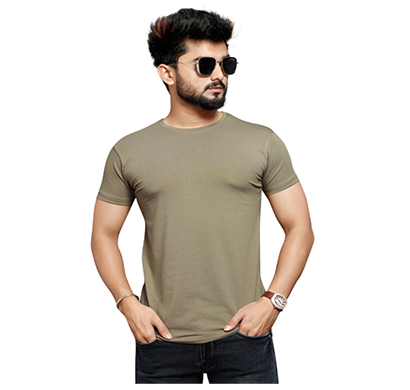 less q branded cotton lycra mens t shirt , desaturated orange(brown)