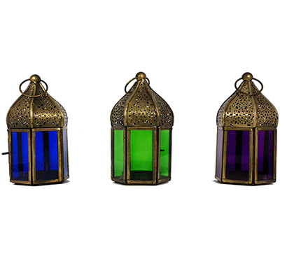 m.s.exports pentagon dome shape lantern brass d674 (pack of 3)