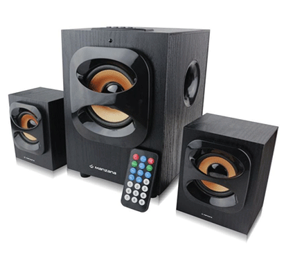 manzana blu champ portable bluetooth home audio speaker (black, 2.1 channel)
