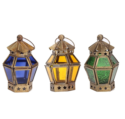 moroccan lantern with brass finish ( set of 3)