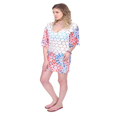 multi floral swim coverup