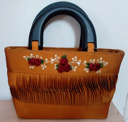 nehas nhsw - 008 bags embroidered ladies silk hand bag wooden handle yellow