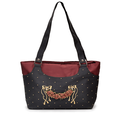 nehas nhss-001 bags embroidered ladies silk hand bag strap handle (maroon & black)