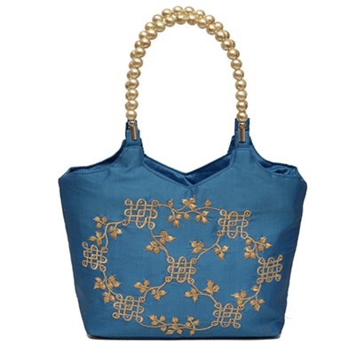 nehas nhsb-016 bags embroidered ladies silk hand bag bead handle(blue)