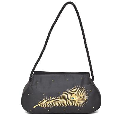 nehas nhsr-022 bags embroidered ladies silk hand bag rope handle (black)