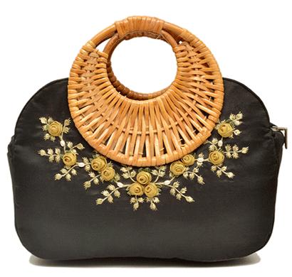 nehas nhsc-018 bags embroidered ladies silk hand bag cane handle (black)