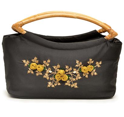 nehas nhsc-012 bags embroidered ladies silk hand bag cane handle (black)