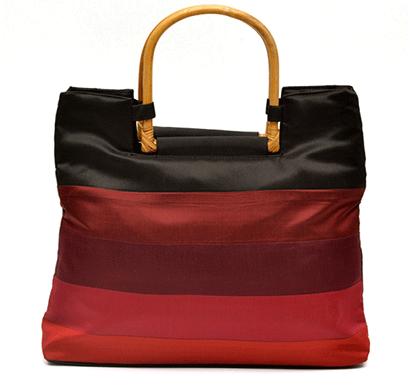 nehas nhsc-002 bags embroidered ladies silk hand bag cane handle (maroon & black)