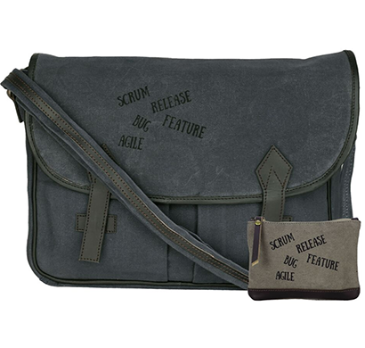 neudis - laptop2agile, genuine leather & recycled stone washed canvas spacious laptop messanger bag - agile - blue