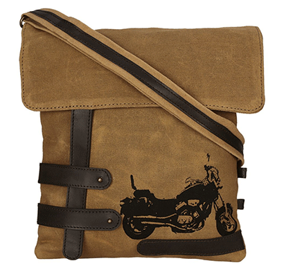 neudis genuine leather & recycled stone washed canvas travel sling / cross body bag for ipad & tablet - bike - brown