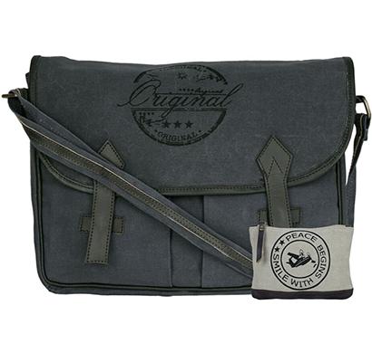 neudis - laptop2original, genuine leather & recycled stone washed canvas spacious laptop messanger bag - original - blue