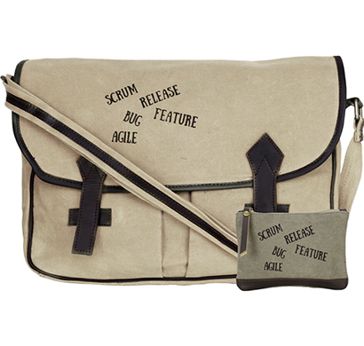 neudis - laptop2agile, genuine leather & recycled stone washed canvas spacious laptop messanger bag - agile - beige