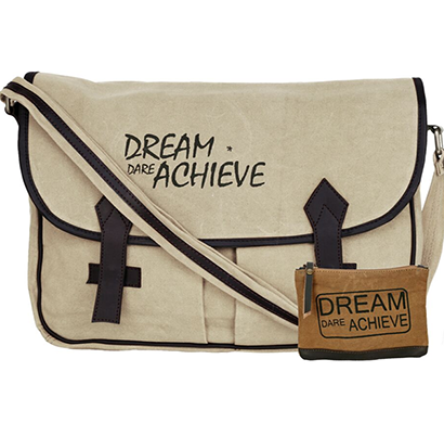 neudis - laptop2achieve, genuine leather & recycled stone washed canvas spacious laptop messanger bag - dream dare achieve - beige