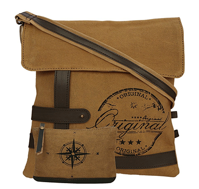 neudis genuine leather & recycled stone washed canvas travel sling / cross body bag for ipad & tablet - original - brown