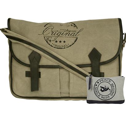 neudis - laptop2original, genuine leather & recycled stone washed canvas spacious laptop messanger bag - original - green