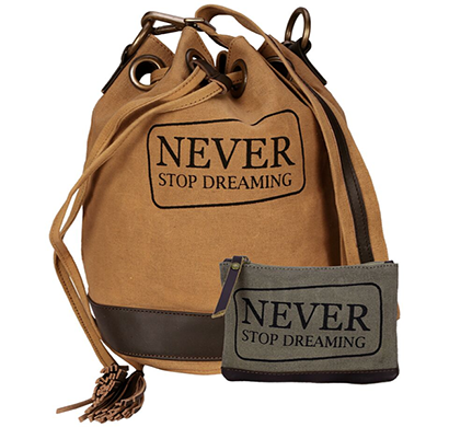 neudis - bucketdreaming, genuine leather & recycled stone washed canvas casual tassel bucket bag - never stop dreaming - brown