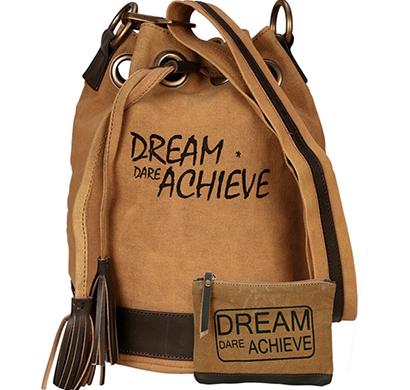 neudis - bucketachieve, genuine leather & recycled stone washed canvas casual tassel bucket bag - dream dare achieve - brown