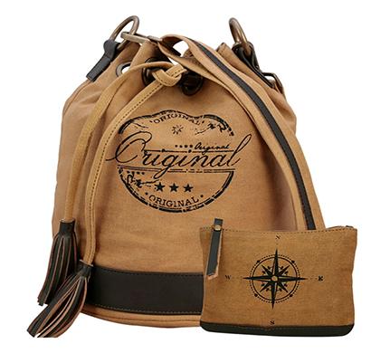 neudis - ucketoriginal, genuine leather & recycled stone washed canvas casual tassel bucket bag - original - brown