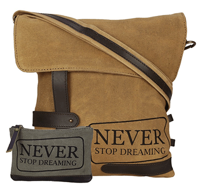 neudis genuine leather & recycled stone washed canvas travel sling / cross body bag for ipad & tablet - never stop dreaming - brown