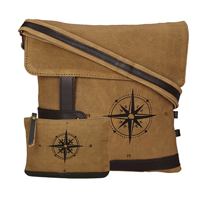 neudis genuine leather & recycled stone washed canvas travel sling / cross body bag for ipad & tablet - compass - brown