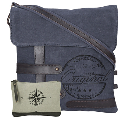 neudis genuine leather & recycled stone washed canvas travel sling / cross body bag for ipad & tablet - original - blue