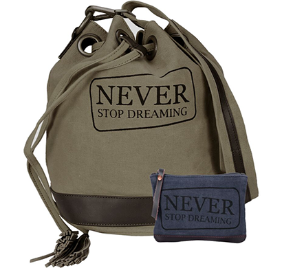 neudis - bucketdreaming, genuine leather & recycled stone washed canvas casual tassel bucket bag - never stop dreaming - green