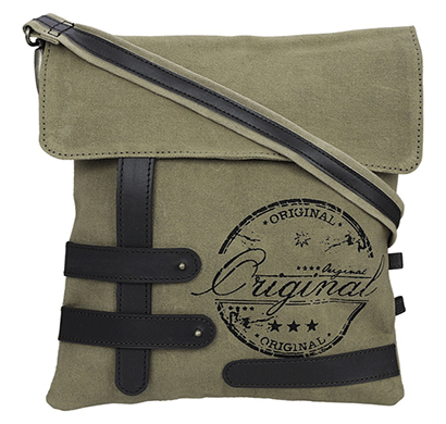 neudis genuine leather & recycled stone washed canvas travel sling / cross body bag for ipad & tablet - original - green