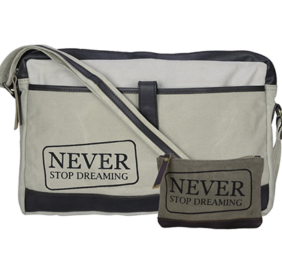 neudis - laptop1dreaming, genuine leather & recycled stone washed canvas sleek laptop messanger bag - never stop dreaming - beige