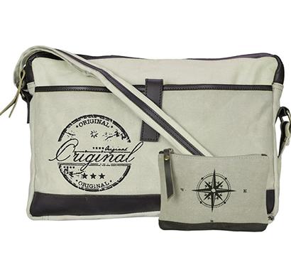 neudis - laptop1original, genuine leather & recycled stone washed canvas sleek laptop messanger bag - original - beige