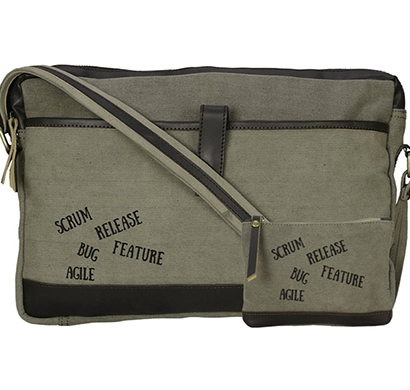 neudis - laptop1agile, genuine leather & recycled stone washed canvas sleek laptop messanger bag - scrum agile - green