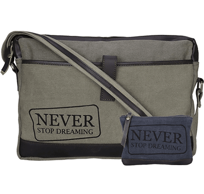 neudis - laptop1dreaming, genuine leather & recycled stone washed canvas sleek laptop messanger bag - never stop dreaming - green