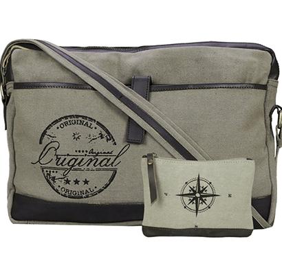 neudis -laptop1original, genuine leather & recycled stone washed canvas sleek laptop messanger bag - original - green
