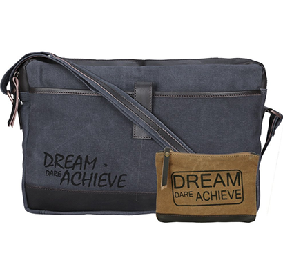 neudis - laptop1achieve, genuine leather & recycled stone washed canvas sleek laptop messanger bag - dream dare achieve - blue