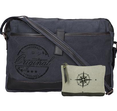 neudis - laptop1original, genuine leather & recycled stone washed canvas sleek laptop messanger bag - original - blue