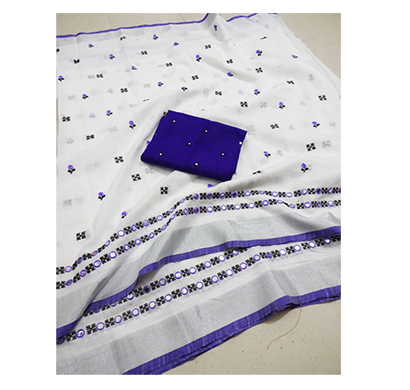 ojhas soft linen traditional saree with matching blouse ( blue)