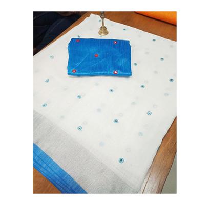 ojhas (oe-bindiya-blue) soft linen traditional saree with matching blouse (blue)