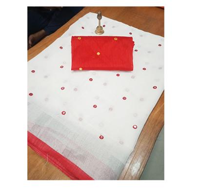 ojhas (oe-bindiya-red) soft linen traditional saree with matching blouse (red)