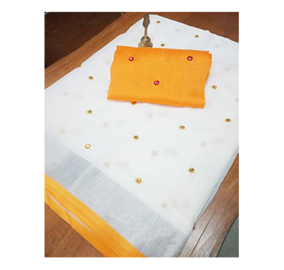 ojhas (oe-bindiya-yellow) soft linen traditional saree with matching blouse (yellow)