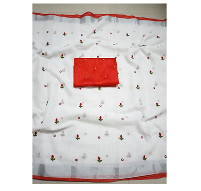 ojhas (subh-dream-girl-red) soft linen traditional saree with matching blouse (red)