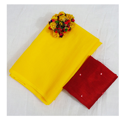 ojhas (surili-yellow) marvel chiffon official saree (yellow)