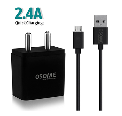 osome (hero p2.4a) wall charger dual usb (black)