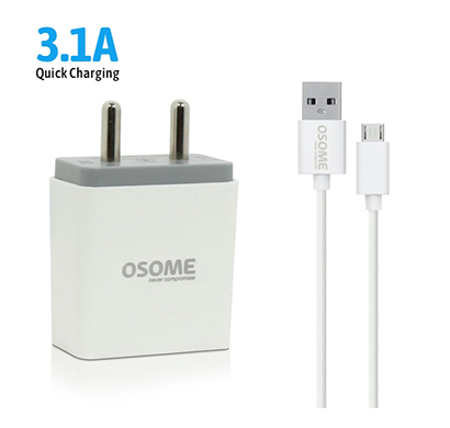 osome (hero p3.1a) wall charger dual usb ( white)
